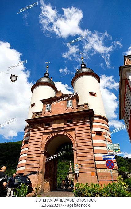 The Gate to the Old Bridge in Heidelberg, Germany