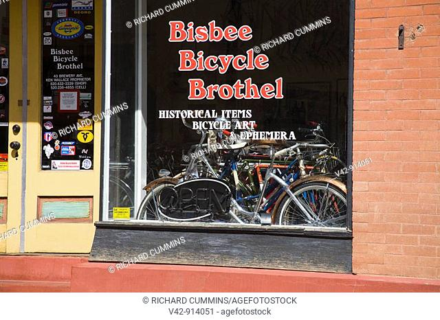 Bicycle Store in Brewery Gulch, Bisbee Mining Town, Cochise County, Arizona, USA