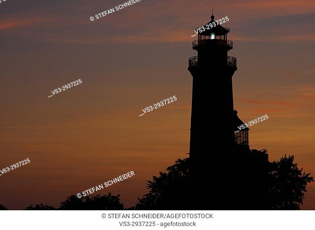 The Lighthouse of Cape Arkona in the afterglow, Island of Rügen, Mecklenburg-Western Pomerania, Germany