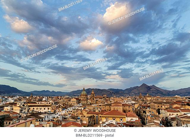 Clouds over cityscape, Palermo, Sicily, Italy