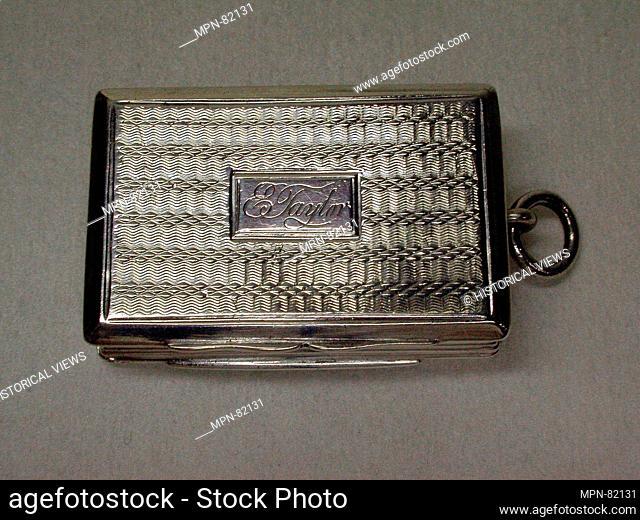 Vinaigrette box. Maker: Thomas Shaw (entered 1822); Date: 1830; Culture: British, Birmingham; Medium: Silver; Dimensions: Length: 1 1/2 in. (3