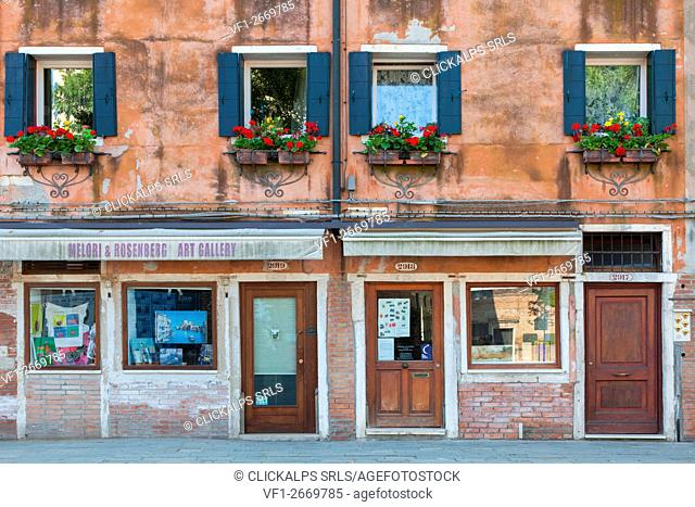Europe, Italy, Venice. Detail of shop windows in the Old Jewish Quarter