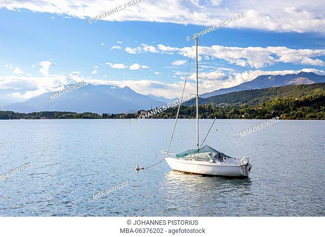 Europe, Italy, Piedmont, sailing ship on the Lago di Viverone close Biella