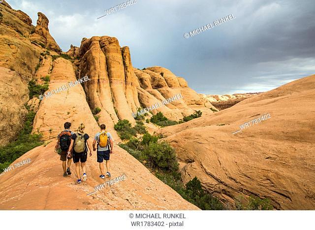 Trekkers walking along the Slickrock trail near, Moab, Utah, United States of America, North America