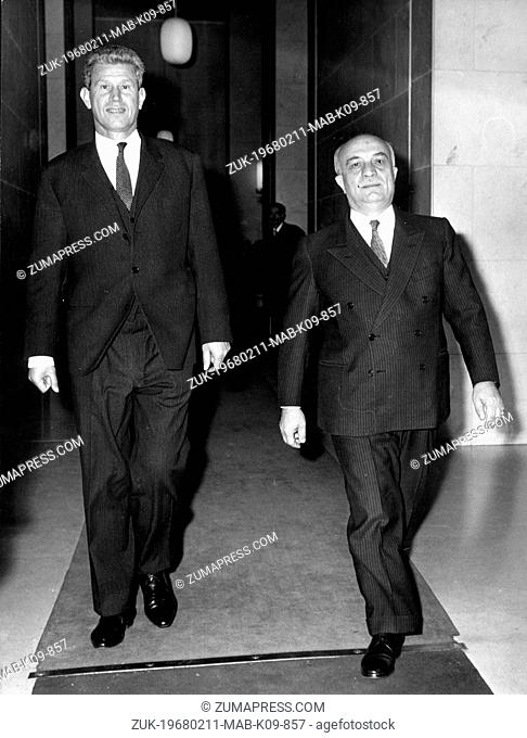 Feb 11, 1968; Rome, Italy; Bulgaria's Foreign Minister, IVAN BASCEV is in Rome for a three days official visit. Th picture shows the Minister at the Farnesina...