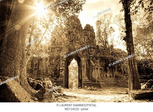 Angkor Thom East Gate also known as the Death Gate is one of the five gates which guards the ancient city of Angkor Thom