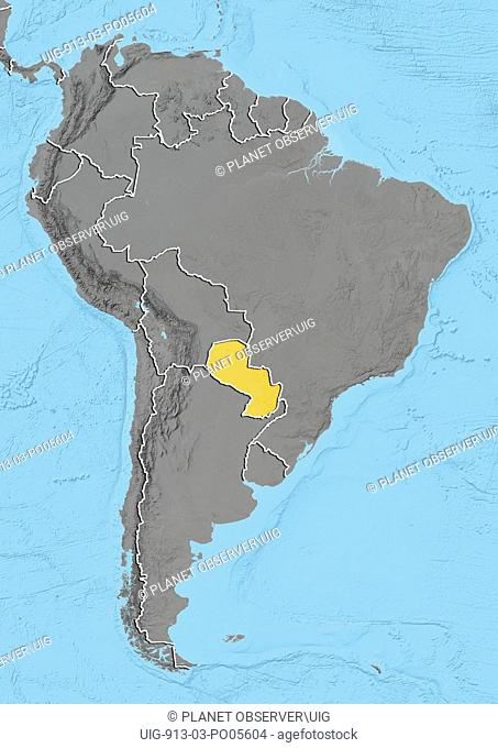 Paraguay, Relief Map