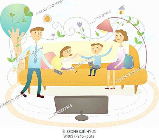 cordial family spend happy time altogether