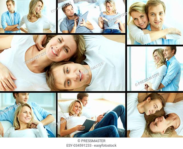 Collage of young couple spending time at home