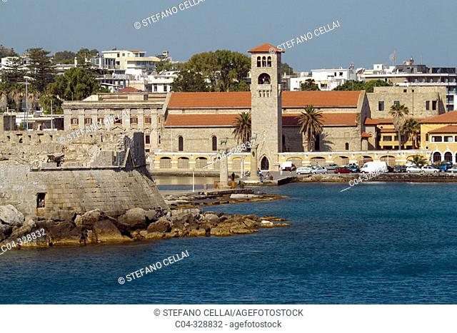 Church of the Evangelismos (Annunciation) built in 1925 at Mandraki harbour. Rhodes. Dodecanese, Greece
