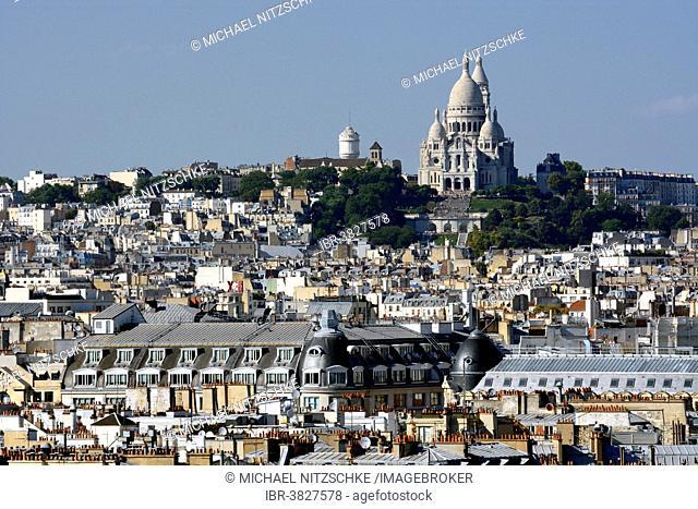Hill of Montmartre with Sacré-Cœur Basilica, Basilica of the Sacred Heart of Paris, Paris, Île-de-France, France
