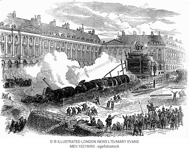 Illustration showing the destroyed Vendome Column, Paris, 16th May 1871. The column was pulled down by order of the Paris Commune