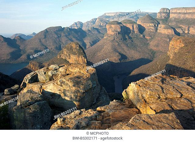 the famous round rocks 'The Tree Rondavels' in the Blyde River Canyon, South Africa, Mpumalanga, Panorama Route, Graskop