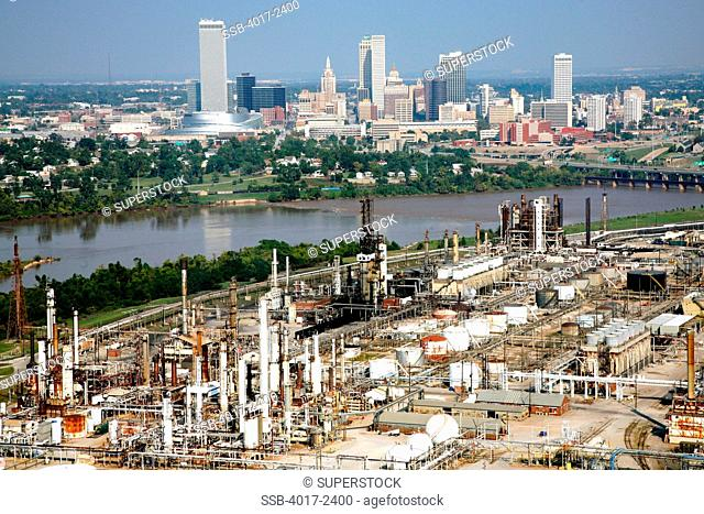 Aerial of Tulsa Oklahoma Downtown Skyline and Oil refineries