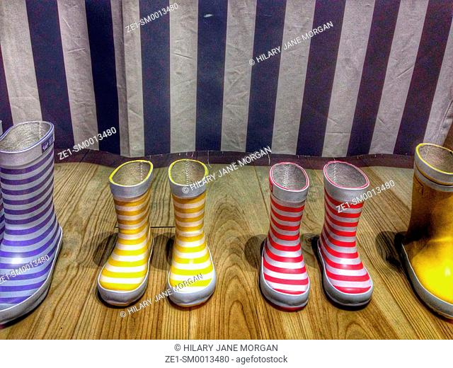 Colourful striped rubber boots