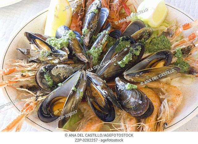 Seafood on plate Mariscada Alicante Spain