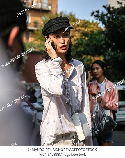 MILAN, Italy- September 19 2018: Chu Wong on the street during the Milan Fashion Week