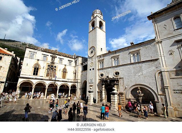 Placa Stadrun ,bell tower, Main street at Luza Placa , people, Dubrovnik, Croatia
