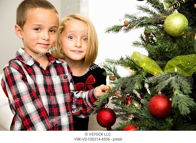 Brother (6-7) and sister (6-7) decorating Christmas tree