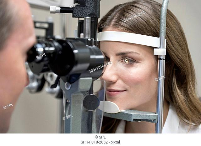 Mid adult woman having eye test