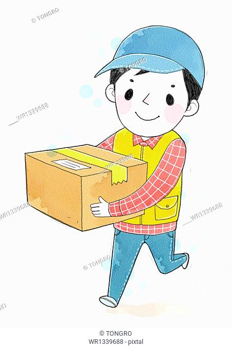illustration of a delivery man