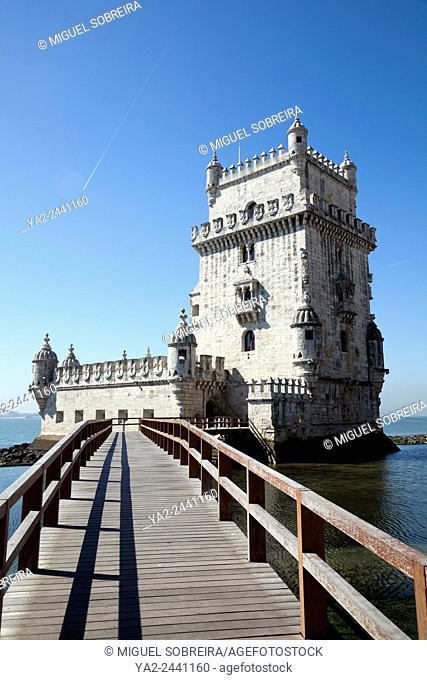 Torre de Belém Along Tagus River Promenade in Belem, Lisbon - Portugal