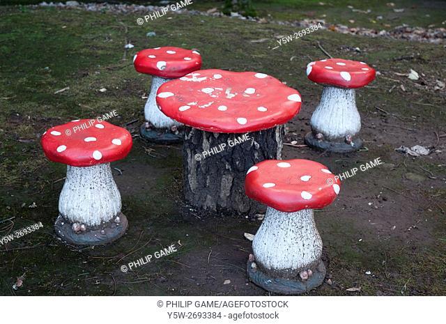 Toadstool-shaped seats for child visitors at Mt Macedon, Victoria, Australia