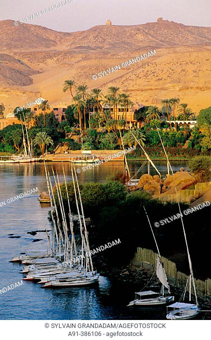 View from Old Cataract Hotel at sunrise.  Aswan. Nubia. Egypt