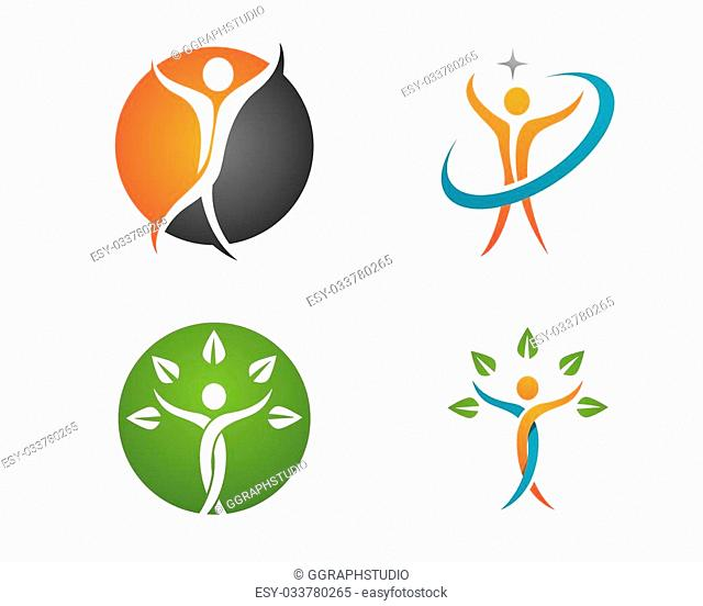 Fun people Healthy Life icon Logo template