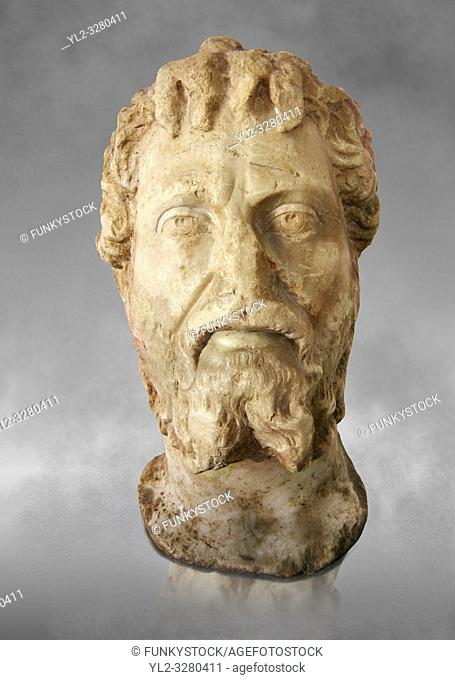 Roman sculpture of the Emperor Septime Severe, excavated from Choud El Battan sculpted circa 193-211AD. The Bardo National Museum, Tunis, Inv No: C