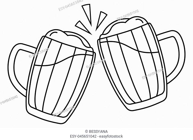 Line art black and white two beer mug. Coloring book page for adults and kids. Oktoberfest festival themed vector illustration for icon, sticker, patch, label