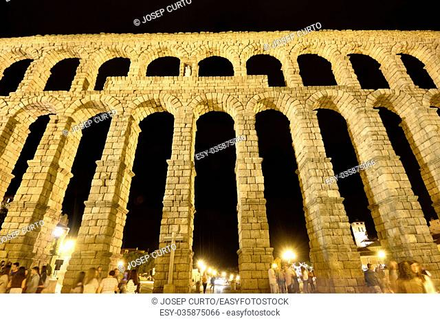 Night in the Roman aqueduct of Segovia, Castilla-Leon,Spain