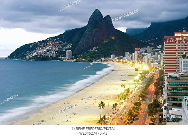 Aerial view of Ipanema Beach, The Brothers Mountains, Rio de Janiero, Brazil