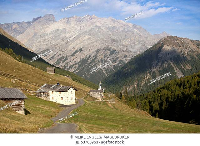 Houses in the high mountain valley of Val Federia, near Livigno, Sondrio province, Lombardy, Italy