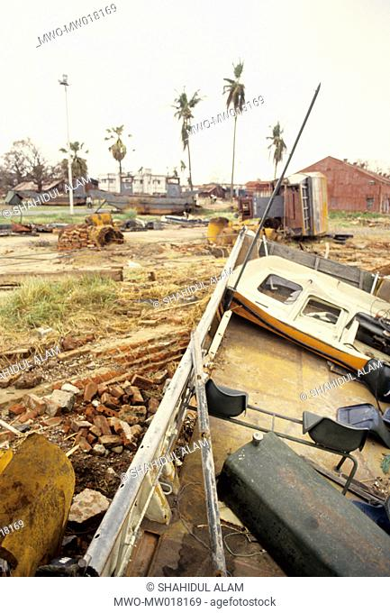 Signs of a rampaging cyclone, in Patenga, Chittagong, Bangladesh 1991 The 1991 cyclone was one of the deadliest tropical cyclones on record that struck...