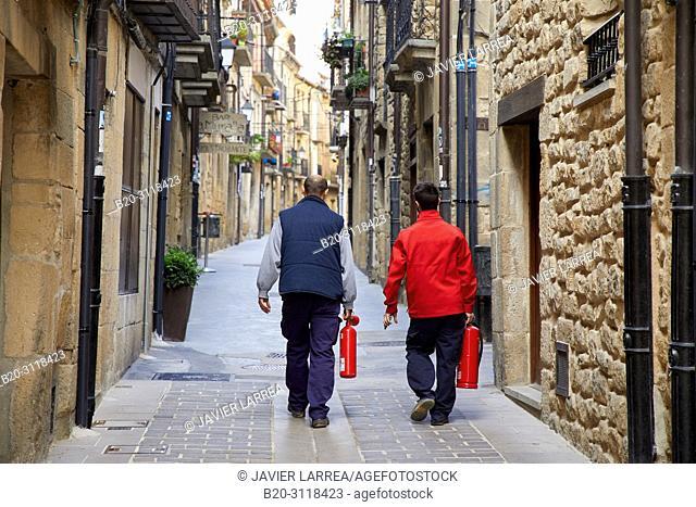 technicians with fire extinguishers, Laguardia, Rioja Alavesa, Araba, Basque Country, Spain, Europe