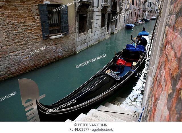 Gondola on canal in Venice, Italy