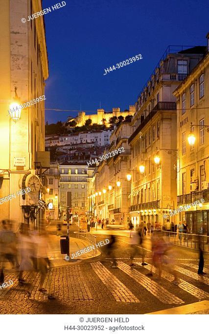 Portugal, Lisbon, Portugal, Lisbon, Portugal, Lisboa, Baixa Chiado ,pedestrians castelo at night