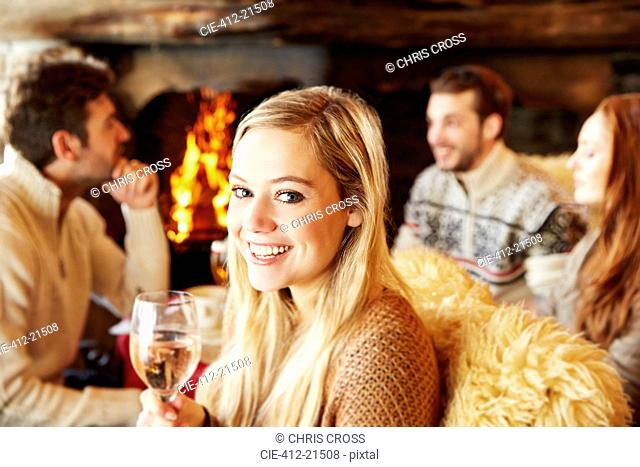 Woman enjoying drinks with friends