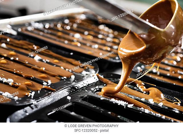 Hot caramel sauce being poured