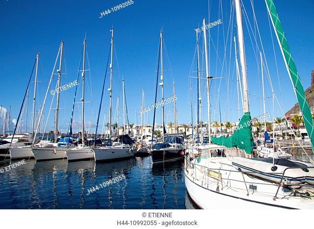 Gran Canaria, Canary islands, Spain, Europe, Mogan, Puerto de Mogan, harbour, port, Marina, sail boats, holidays, tourism