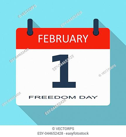 1 February. Freedom day. Vector flat daily calendar icon. Date and time, month. Holiday. Modern simple sign template for web site and mobile app illustration
