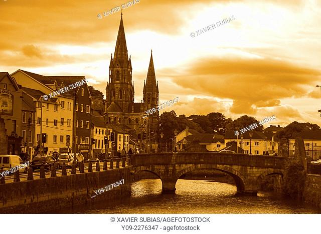 Sunset Saint Finbarre's Cathedral, Cork, Munster province, Ireland