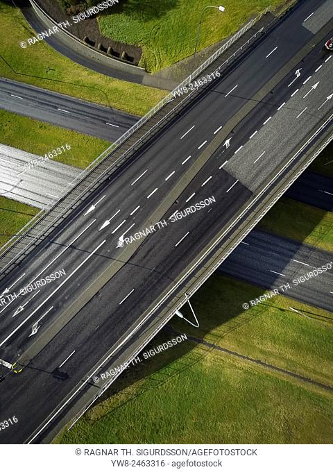 Top view of highway, shot with a drone, Reykjavik, Iceland