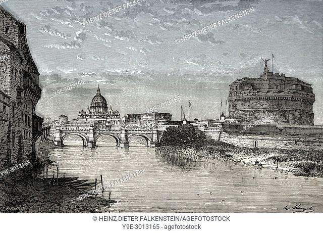 Scenic view of Ponte Sant'Angelo and Castel Sant'Angelo, Rome, Italy, 19th Century