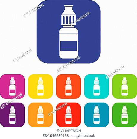 Liquid for electronic cigarettes icons set vector illustration in flat style in colors red, blue, green, and other