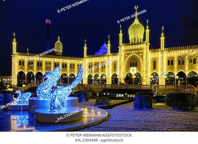 Christmas lit restaurant Nimb in Tivoli, Copenhagen, Denmark, Europe