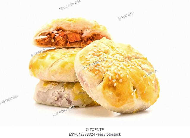 barbecue pork pies isolated on white background - Asian tradition food style
