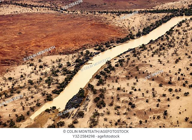 Cooper river basin, aerial view, billabong near 1860/61 Burke & Wills 'Dig Tree', Queensland border en route Birdsville, Australia