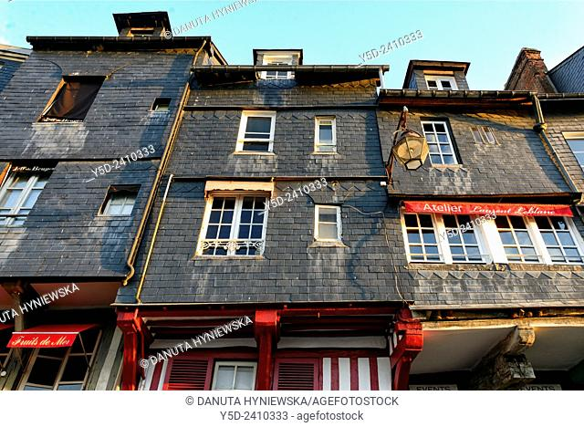 Facades, old town of Honfleur, Normandy, France